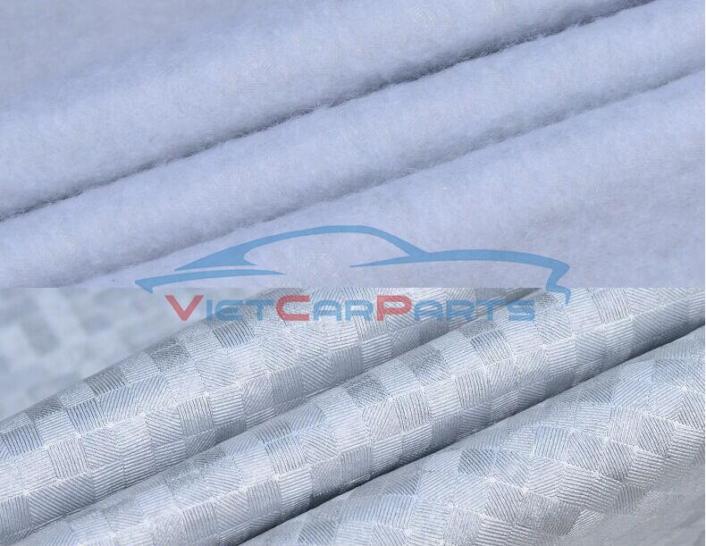 Mặt ngoài bạt phủ xe tráng nhôm phản quang ,cách nhiệt, chống nóng chống nước.